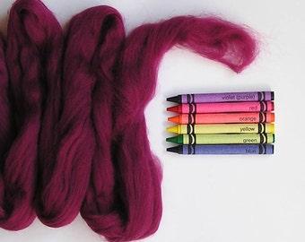 MERINO WOOL ROVING / Cranberry 1 ounce / 21.5 microns / wet felting / nuno felting / doll hair / needle felting / infant photography
