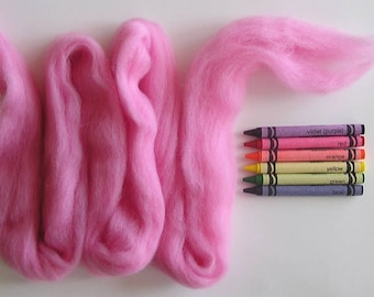 CORRIEDALE WOOL ROVING / Cotton Candy Pink 1 ounce / corriedale sliver for needle felting, wet felting, infant photography, photo props