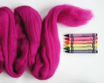 CORRIEDALE WOOL SLIVER - Magenta (approximately 1 oz) - Wool for needle felting , wet felting , and spinning