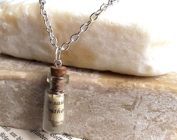 Custom Bible verse in glass vial necklace - silver plated - Personalized Christian jewelry