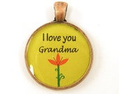 Grandma Pendant - Lime Green Orange Flower Copper Jewelry Charm