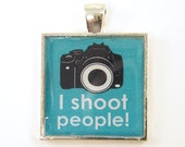 RESERVE FOR J - Photographer Gift - Teal Black White Camera Silver Square Resin Pendant