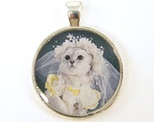 Cat Pendant - White Bride Wedding Cat Jewelry Photo Bridal Pendant