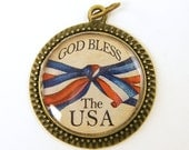USA Pendant - God Bless the USA Red White Blue Jewelry Charm