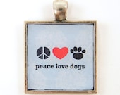 Dog Pendant - Peace Love Dogs Black Red Blue Square Resin Pet Jewelry
