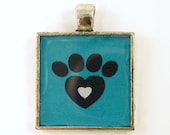 Dog Pendant, Love Dogs Animal Paw Print Teal Black Silver Pet Lovers Jewelry Charm