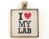 Labrador Retriever Pendant, I Love my Lab Pendant Black Red White Dog Lovers Pet Jewelry Charm