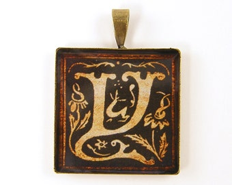 Initial Y Pendant - Letter Y Pendant - Personalized Initial Resin Sepia Medieval Square Pendant
