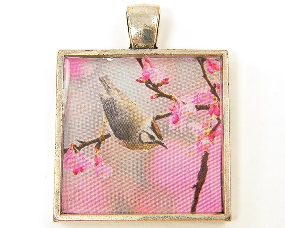 Bird Pendant, Pink Gray Pendant, Pink Flower Pendant, Pink Grey Pink Silver Nature Photo Jewelry Charm
