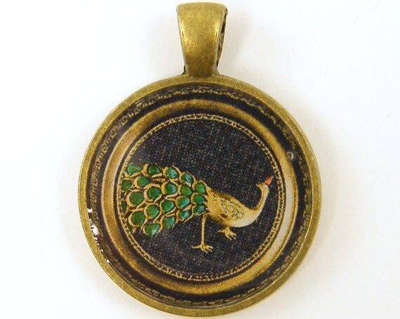 Peacock Pendant - Green Gold Black Vintage Brooch Brass Round Photo Pendant