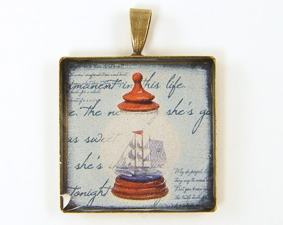 Ship in a Bottle Nautical Pendant - Red White Blue Marine Handwriting Square One Inch Brass Resin Jewelry