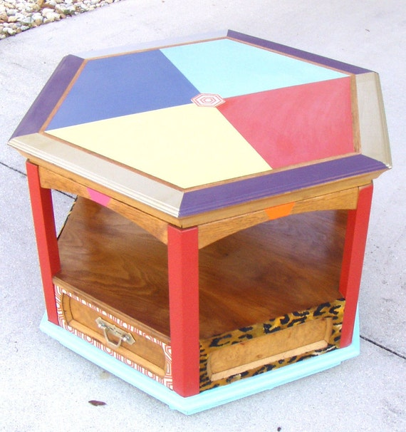 1960's Thomasville Hexagonal Solid Oak Vintage Coffee
