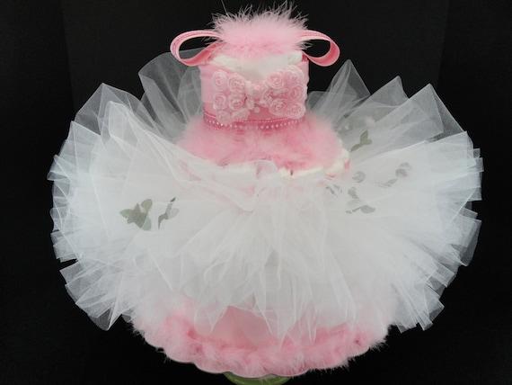 Custom Order Baby Diaper Cake - Pink & White Ballerina Tutu Baby Girl Diaper Cake Centerpiece- 3 Tier
