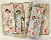 Pink Moon - set of 6 bookmarks - digital collage - printable JPG file