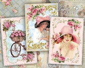 Lady Rose - digital collage sheet - set of 8 - Printable Download