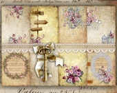 Secret Paper - background - digital collage sheet - set of 8 - Printable Download