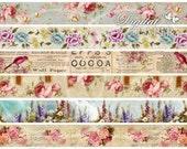 Flower Strips - digital collage sheet - set of 6 strips
