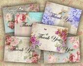 Thank You - Labels - set of 10 - digital collage sheet - Printable Download