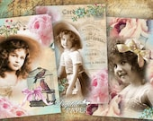Pink Word - digital collage sheet - set of 4 cards - Printable Download