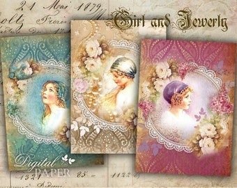 Girls and Jewerly - digital collage sheet - set of 8 - Printable Download
