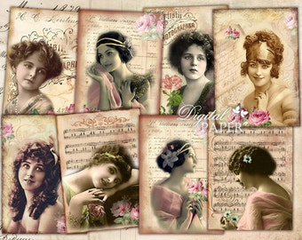 Bella Signora - digital collage sheet - set of 8 - Printable Download