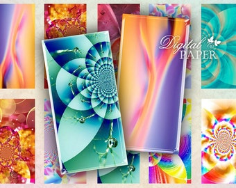 Full Color - domino image - digital collage sheet - 1 x 2 inch - Printable Download
