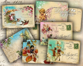 Fairy Postcard - digital collage sheet - set of 8 - Printable Download