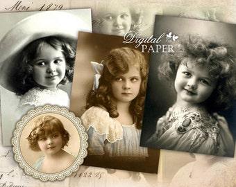 Vintage Children Image - digital collage sheet - set of 8 - Printable Download
