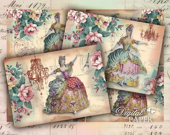 Victorian Post Cards - digital collage sheet - set of 4 cards - Printable Download