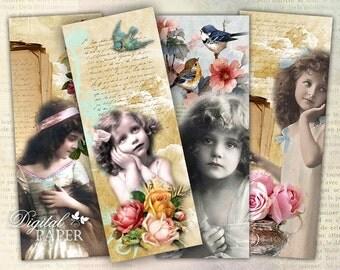 Vintage Bookmarks - set of 6 bookmarks - digital collage - printable JPG file