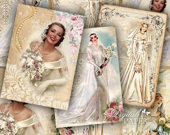Wedding Vintage - digital collage sheet - set of 6 - Printable Download