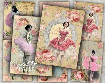 Ballerina - digital collage sheet - set of 6 - Printable Download