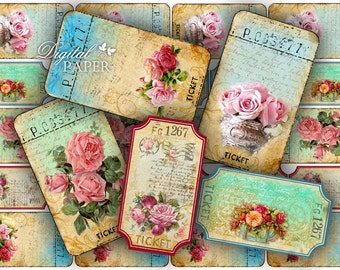 Ticket Flower - digital collage sheet - set of 6 strips  - vintage image