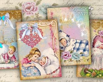 Girl and Boy - digital collage sheet - set of 6 - Printable Download