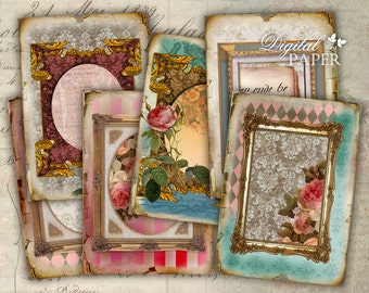 Golden Age - digital collage sheet - set of 8 - Printable Download