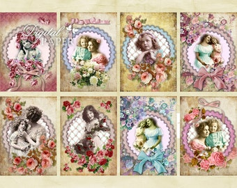 Mother - digital collage sheet - set of 8 - Printable Download