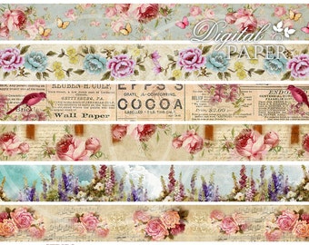 Flower Strips - digital collage sheet - set of 6 strips
