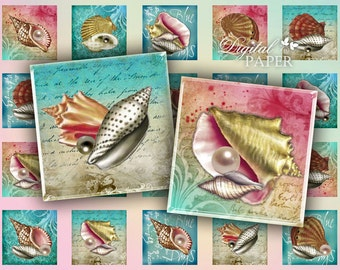 Shell - squares image - digital collage sheet - 1 x 1 inch - Printable Download