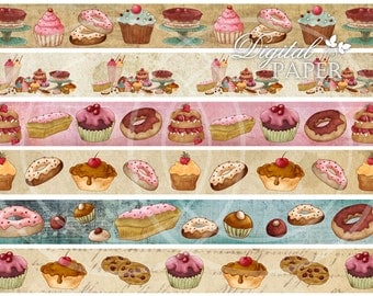 Cupcake Strips - digital collage sheet - set of 6 strips