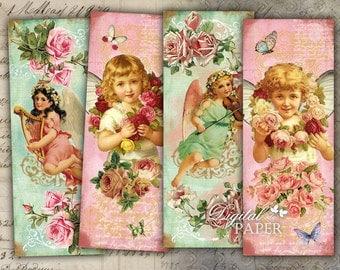 Little Angels - set of 6 bookmarks - digital collage - printable JPG file