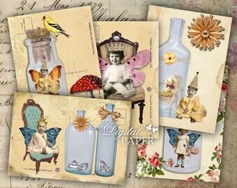 Little Treasures - tags - digital collage sheet - set of 8 - Printable Download