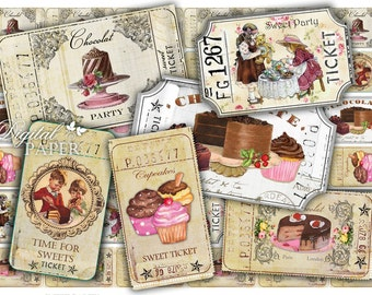 Ticket Sweet Party - digital collage sheet - set of 6 strips  - vintage image