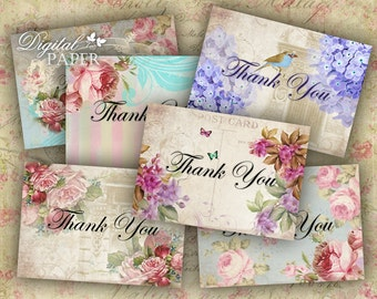 Thank You - Labels - set of 10 - digital collage sheet - Printable Download