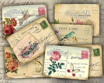 Old Post Card - digital collage sheet - set of 8 - Printable Download