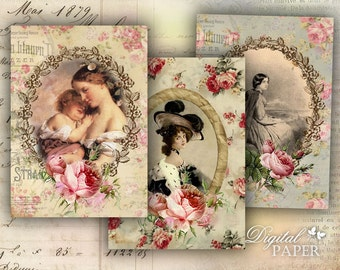 Bouquet of Roses - digital collage sheet - set of 8 - Printable Download