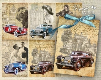 Auto Vintage - digital collage sheet - set of 6 - Printable Download