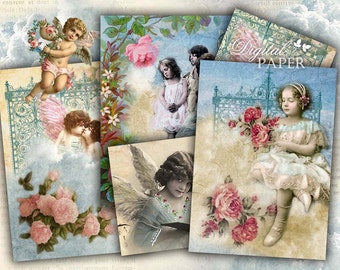 Angels - digital collage sheet - set of 6 - Printable Download