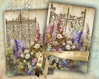 Magic Garden - post card - set of 2 - Printable Download - scrapbookin kits