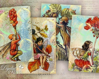 Fairyland - digital collage sheet - set of 8 - Printable Download