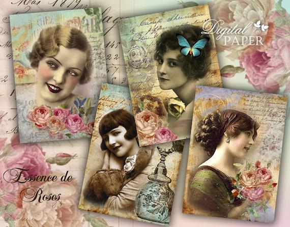 Essence de Roses - digital collage sheet - set of 6 - Printable Download